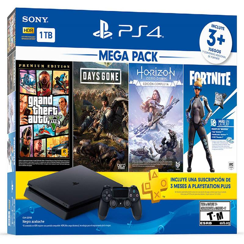 Sony Playstation 4 Slim 1TB GTA 5, Days Gone, Horizon Zero Dawn Complete Edition, Fortnite Versa and 3 Month PS Plus Bundle