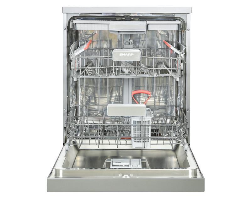 غسالة أطباق شارب تكفى 14 فرد مقاس 60 سم لون سيلفر مزودة بشاشة ديجيتال و 10 برامج QW-V1014M-SS2