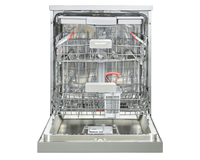 غسالة أطباق شارب تكفى 15 فرد مقاس 60 سم لون سيلفر مزودة بشاشة رقمية و 8 برامج QW-V815-SS2